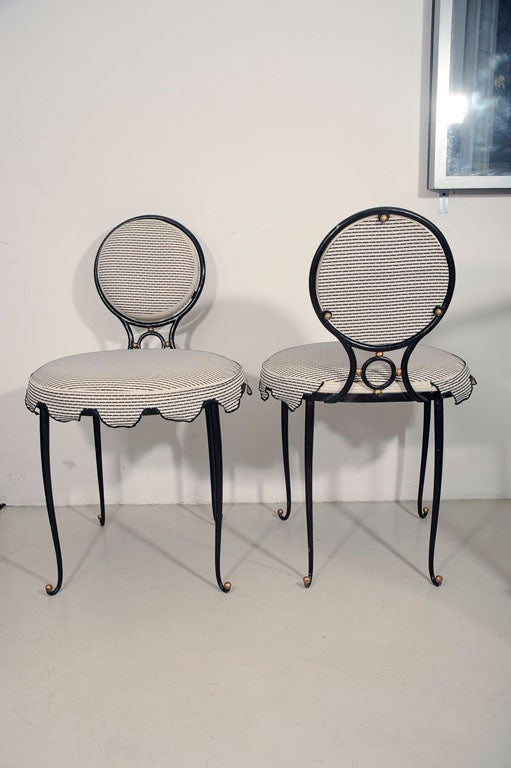 Rene Drouet Set of Six Wrought Iron Upholstered Chairs image 10
