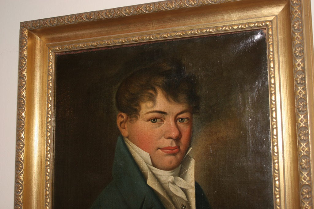 Oil Painting of Young Man Empire Period France  3