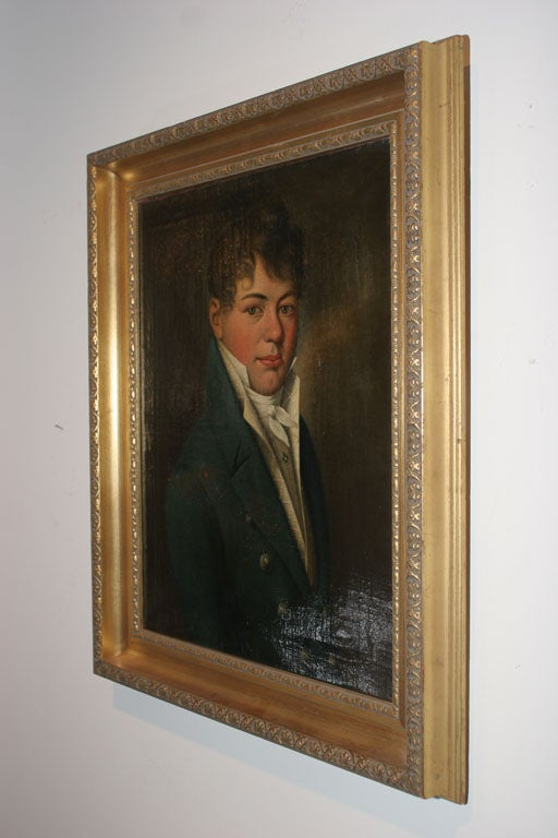 Oil Painting of Young Man Empire Period France  5