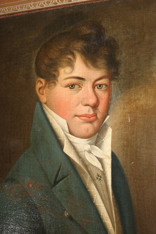 Oil Painting of Young Man Empire Period France  6