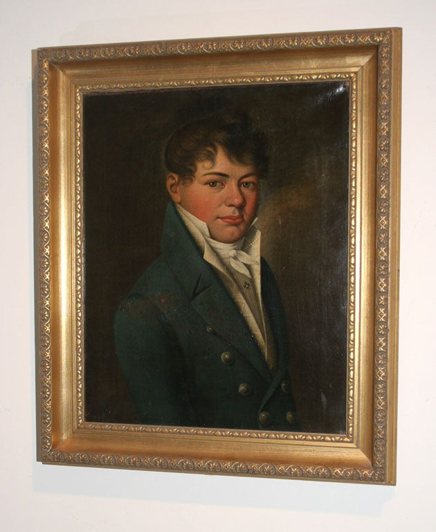 Oil Painting of Young Man Empire Period France  2