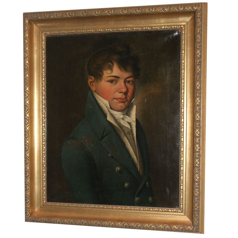 Oil Painting of Young Man Empire Period France  1