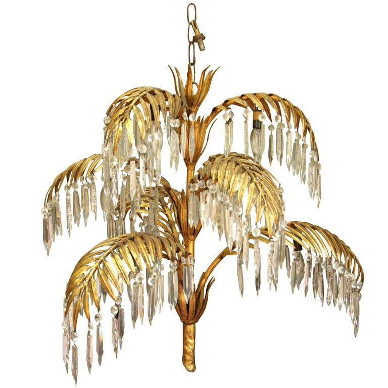 Gold leaf metal and crystal palm frond chandelier at 1stdibs gold leaf metal and crystal palm frond chandelier for sale aloadofball Choice Image