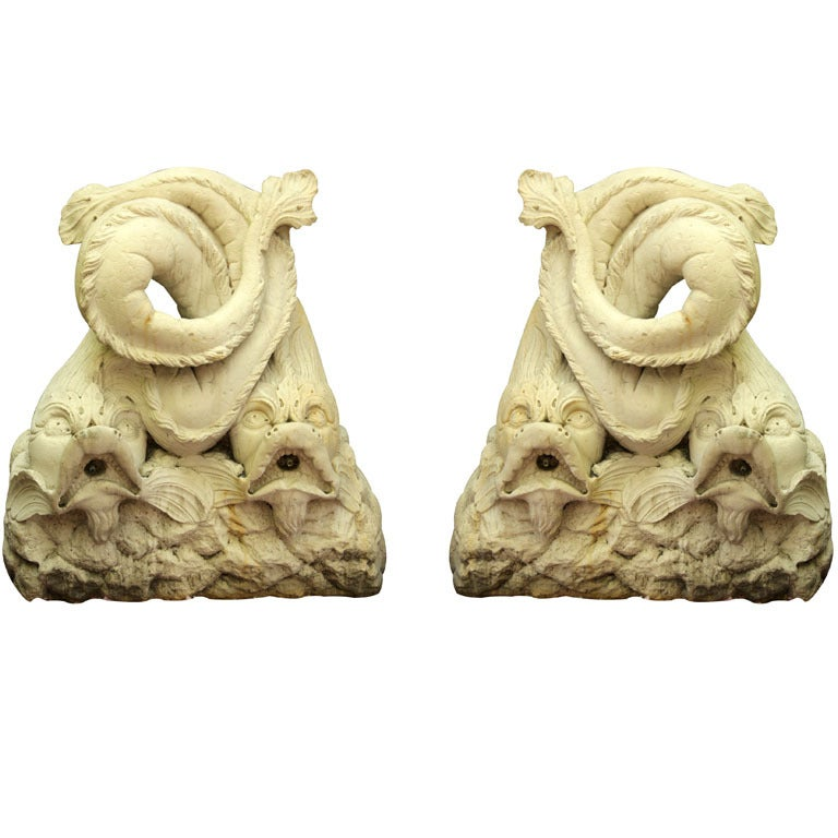 Pair Composition Dolphin Fountains For Sale