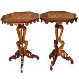 Pair antique English Regency rosewood chess top tables