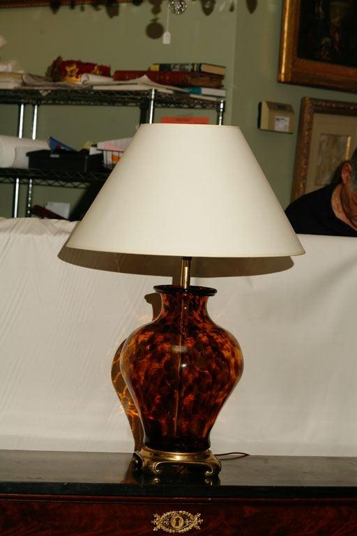 italian tortoise shell glass lamp on brass base at 1stdibs. Black Bedroom Furniture Sets. Home Design Ideas
