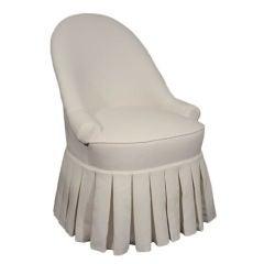 Vintage White Cotton Faille Vanity Seat