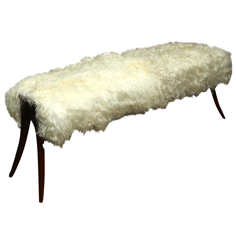 Mid Century Sheepskin Bench With Rosewood Legs At 1stdibs