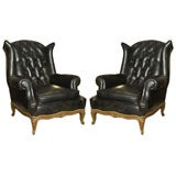 Maison Jansen Pair of Louis XV Style Tufted Leather Wing Lounge Chairs