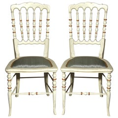 13 Spindle Back White Painted Decorated Gustavian Side or Dining Chairs