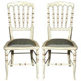 Set of 13 Spindle Back White Painted Decorated Gustavian Side or Dining Chairs