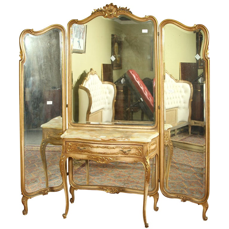 Stamped jansen tri fold mirror with dressing table at 1stdibs for Tri fold mirror