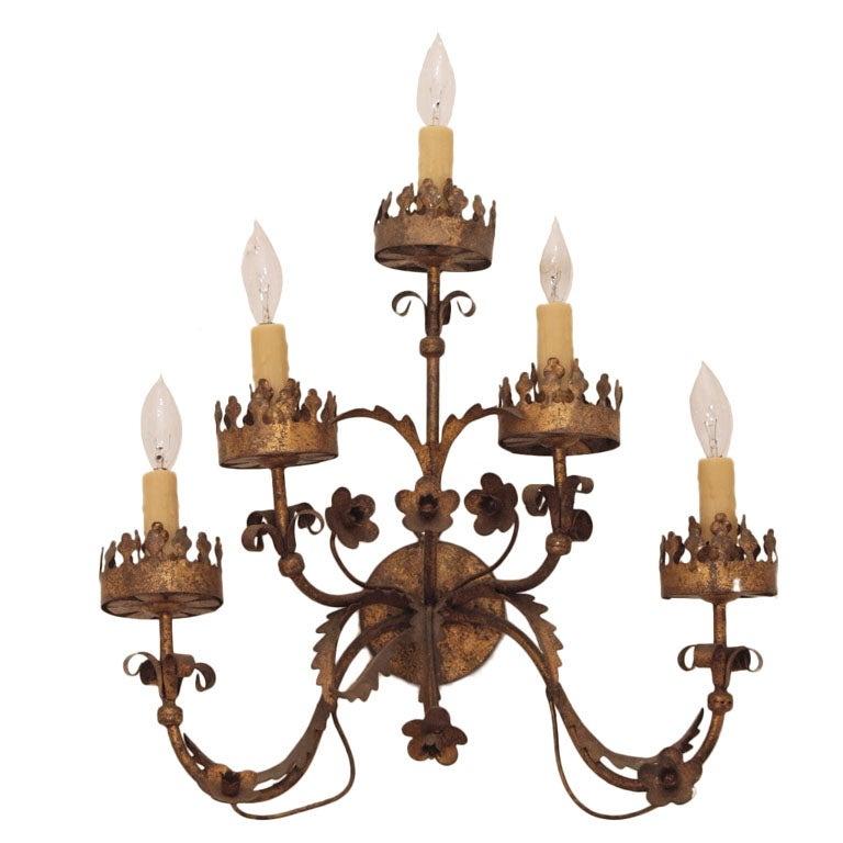 Large Spanish Tole Gilded Sconce at 1stdibs