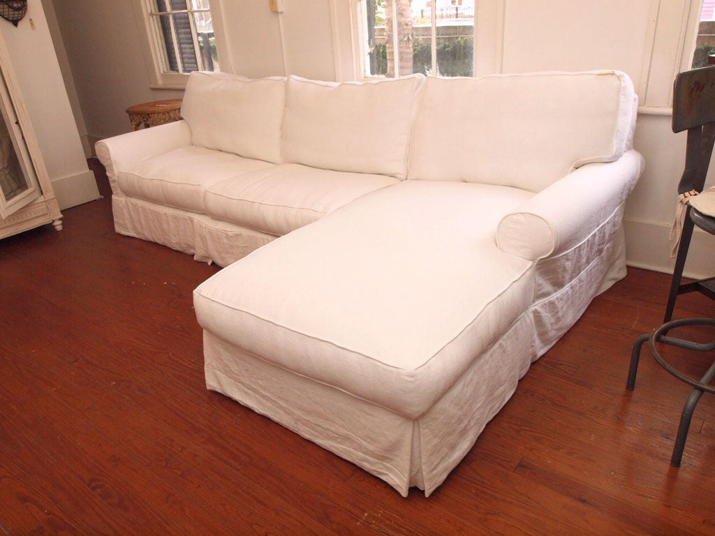 Belgian Linen And Down Sofa Chaise For Sale At 1stdibs