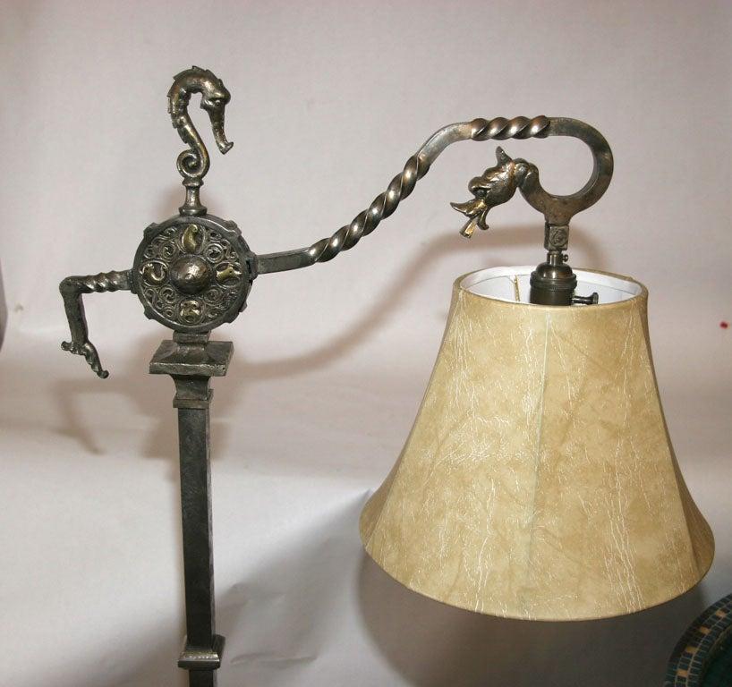 An Oscar B Bach Patinated Iron And Brass Floor Lamp At 1stdibs