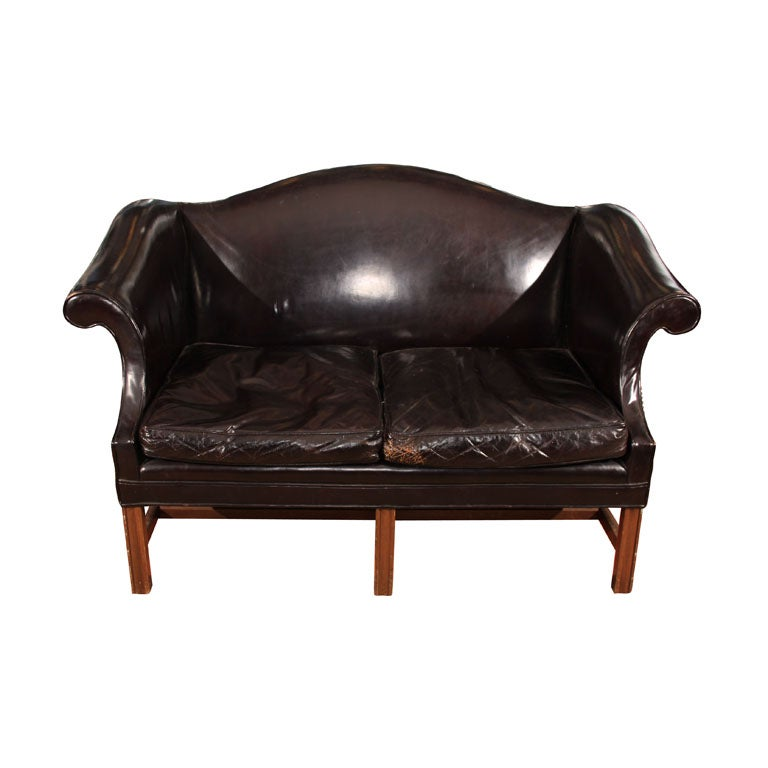 Leather Chippendale Style Loveseat At 1stdibs