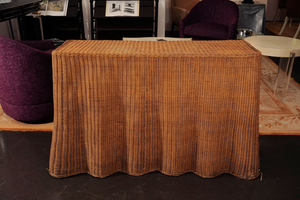 Wicker Skirted Console At 1stdibs