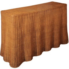 Wicker Skirted Console