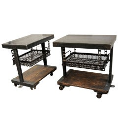 American Pair of Industrial Cart Tables