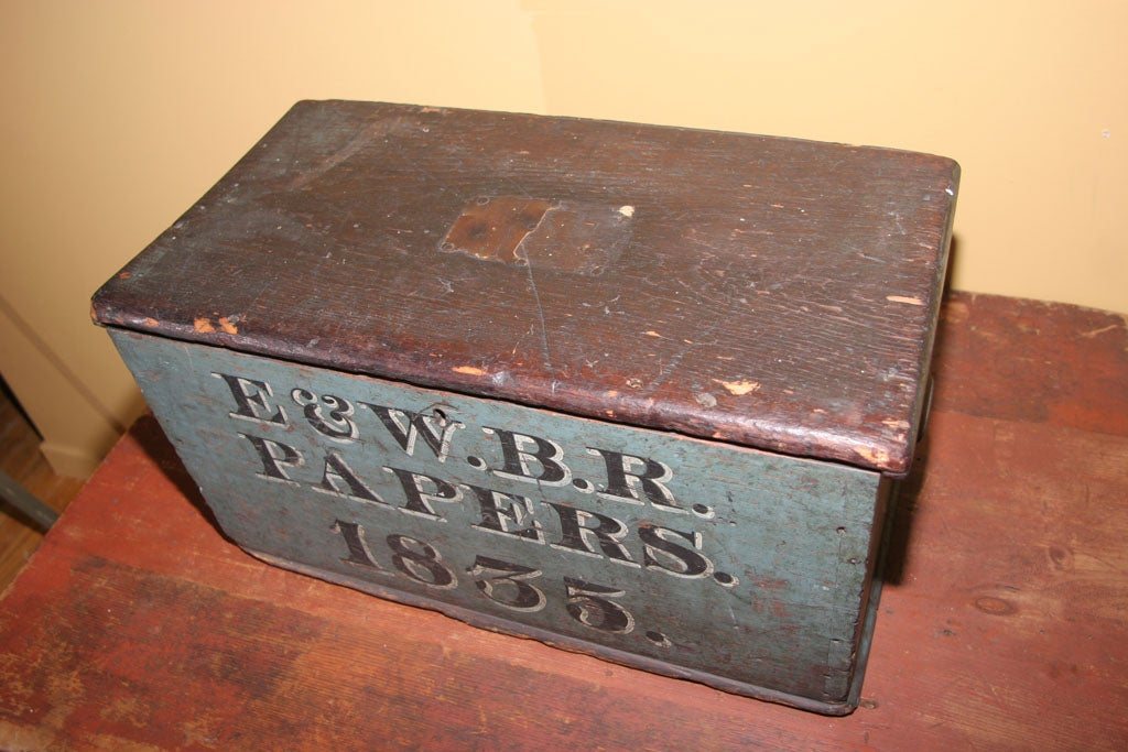 19th Century Lidded Wood Box in Original Paint For Sale