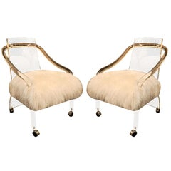 Pair of Circ 1970  Lucite Chairs with Tebetan Lamb Upholstery