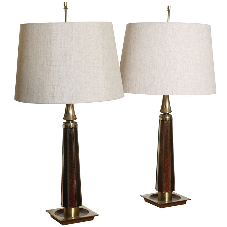 beautiful pair of 70 39 s enamelled lamps for sale at 1stdibs