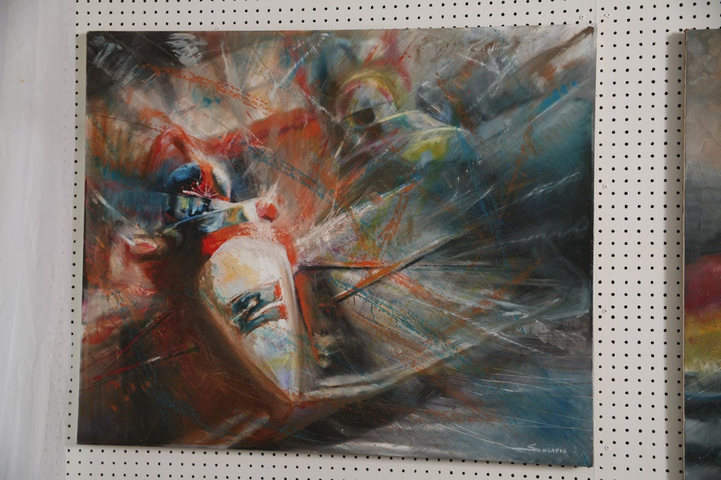 Pair of Solaris Formula 1 Paintings In Excellent Condition For Sale In Miami, FL