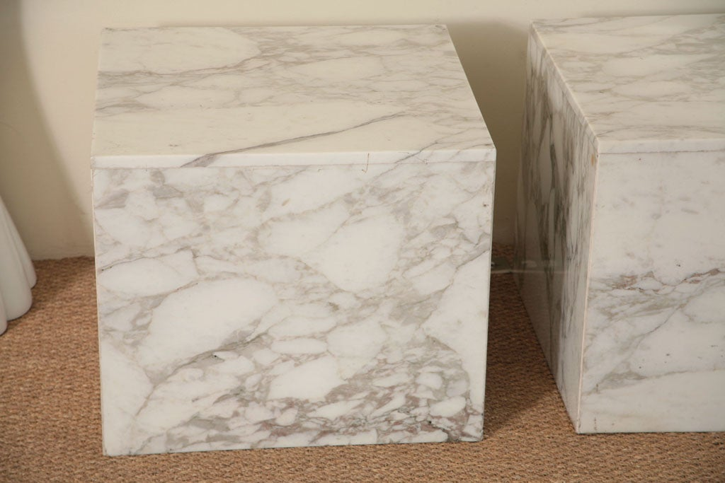 Pair Of Carrara Marble Block Tables At 1stdibs