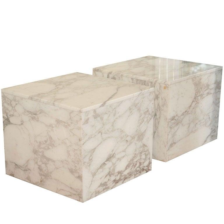 Pair Of Carrara Marble Block Tables 1