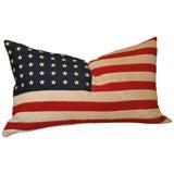 HOMESPUN LINEN FLAG PILLOW W/48 STARS