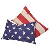 20TH C COTTON FADED FLAG MATERIAL PILLOWS