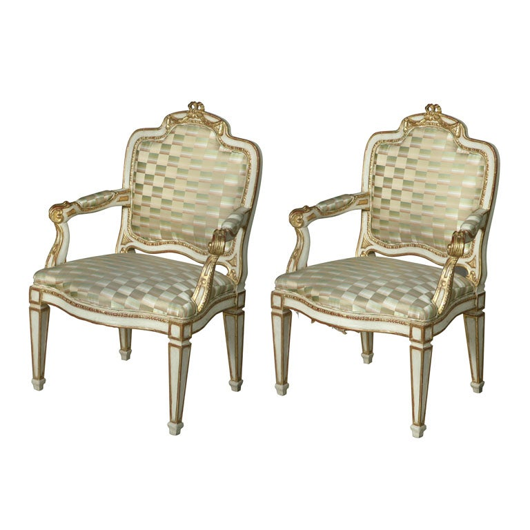Pair of Swedish Neoclassic Cream Painted, Parcel-Gilt Armchairs