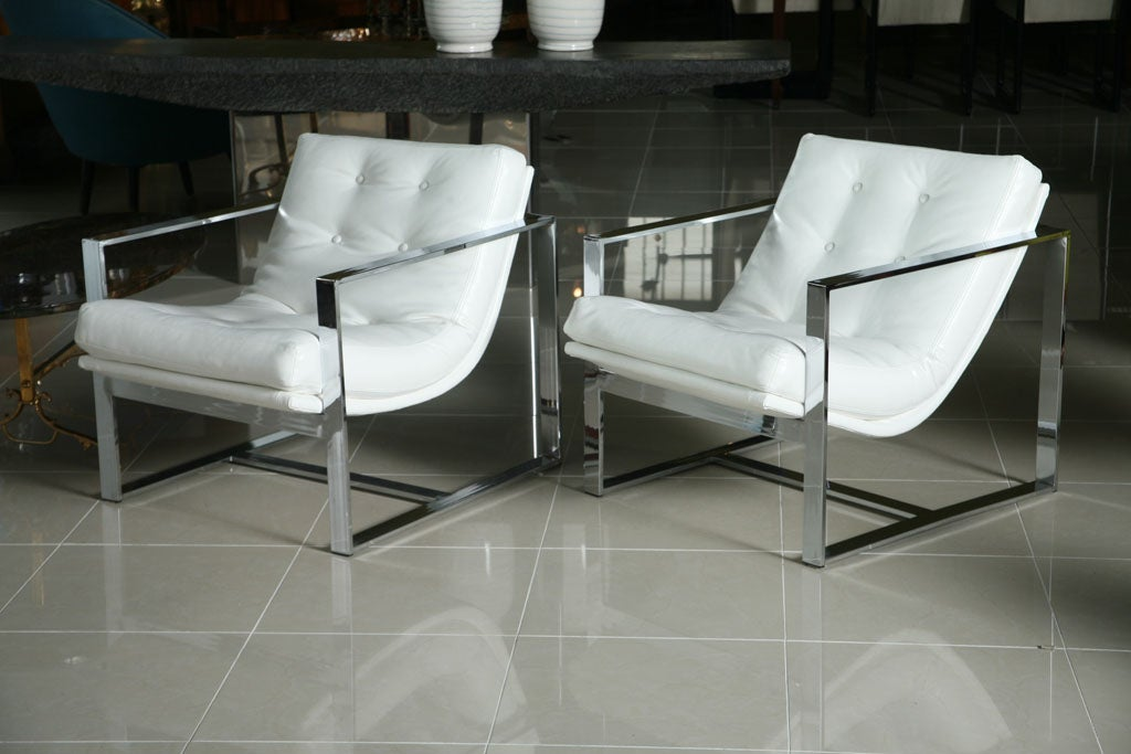 Pair Of Milo Baughman Chrome And White Leather Cube Chairs