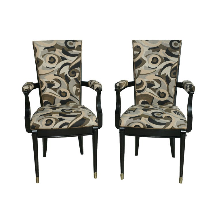Set of Six Art Deco Ebony de Macassar Chairs, Attributed to Poillerat