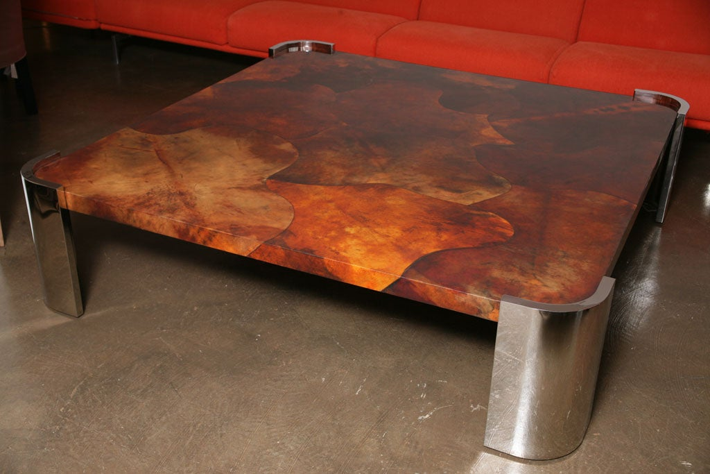 Massive Goat Skin & Steel Coffee Table 3