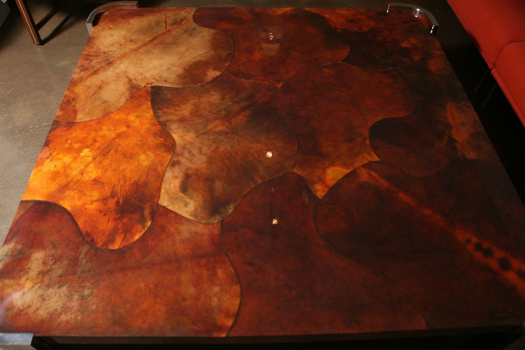 Massive Goat Skin & Steel Coffee Table image 6