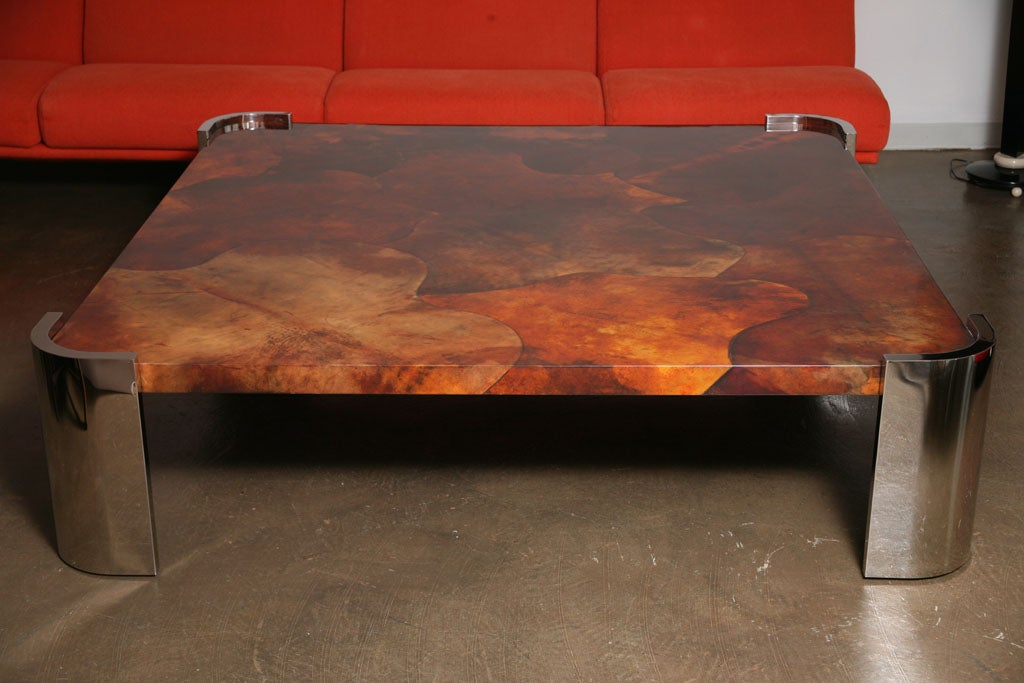 Massive Goat Skin & Steel Coffee Table 2