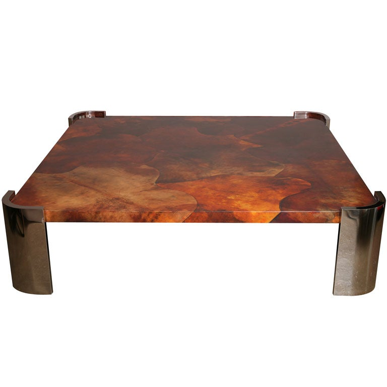 Massive Goat Skin & Steel Coffee Table 1