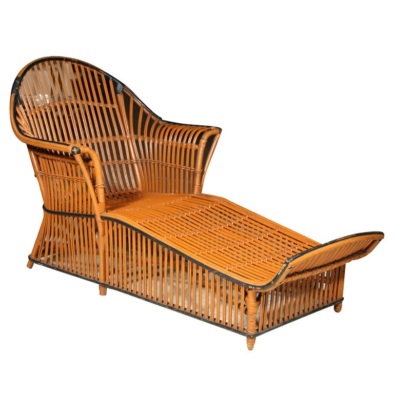 Split reed rattan chaise lounge ypsilanti furniture ionia for Bamboo chaise lounge