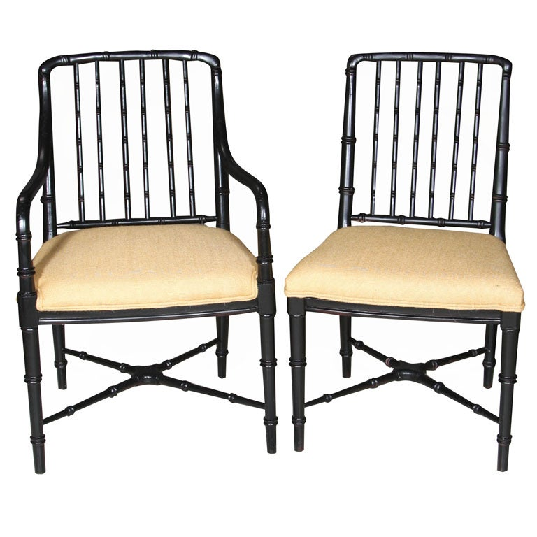 Set 8 Faux Bamboo Dining Chairs With New Upholstered Seats