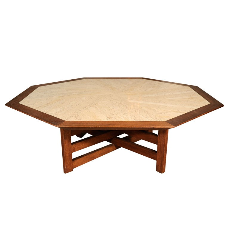 Harvey probbe travertine and walnut octagonal coffee table for Octagon coffee table