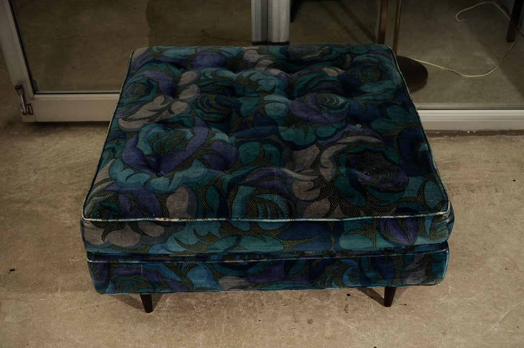 Harvey Probbe Ottoman in Original Jack Lenor Larsen Fabric 3