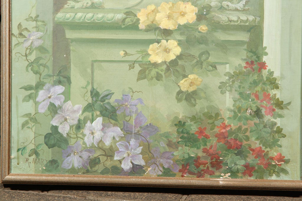 American Floral Oil Painting on Canvas For Sale