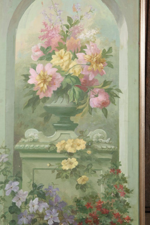 Floral Oil Painting on Canvas In Good Condition For Sale In Stamford, CT