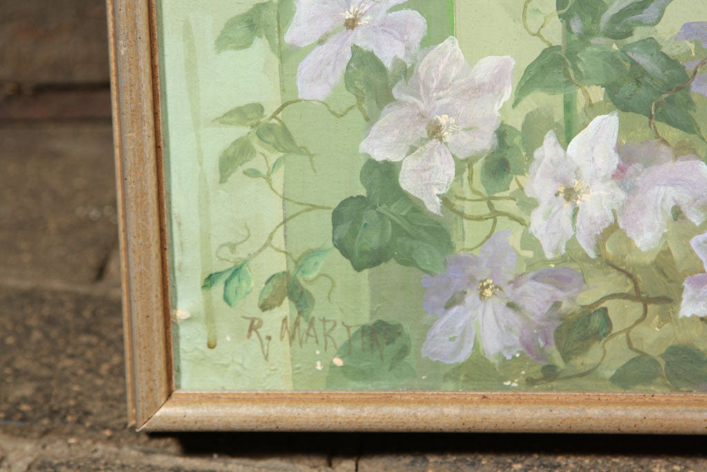 Mid-20th Century Floral Oil Painting on Canvas For Sale