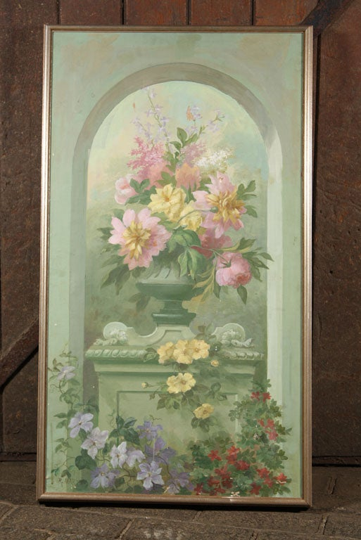 Signed oil painting of lush flowers in a classical urn. Oil on canvas in gilt frame by R. Martin.