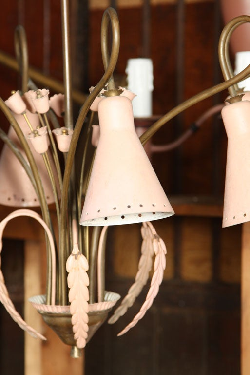 American Mid-Century Modern Brass and Pink Painted Metal Chandelier For Sale