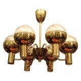 Midcentury Swedish Brass Chandelier by Hans-Agne Jakobsson