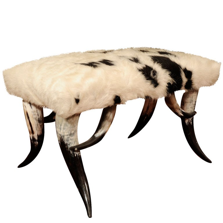horn and cowhide ottoman 1