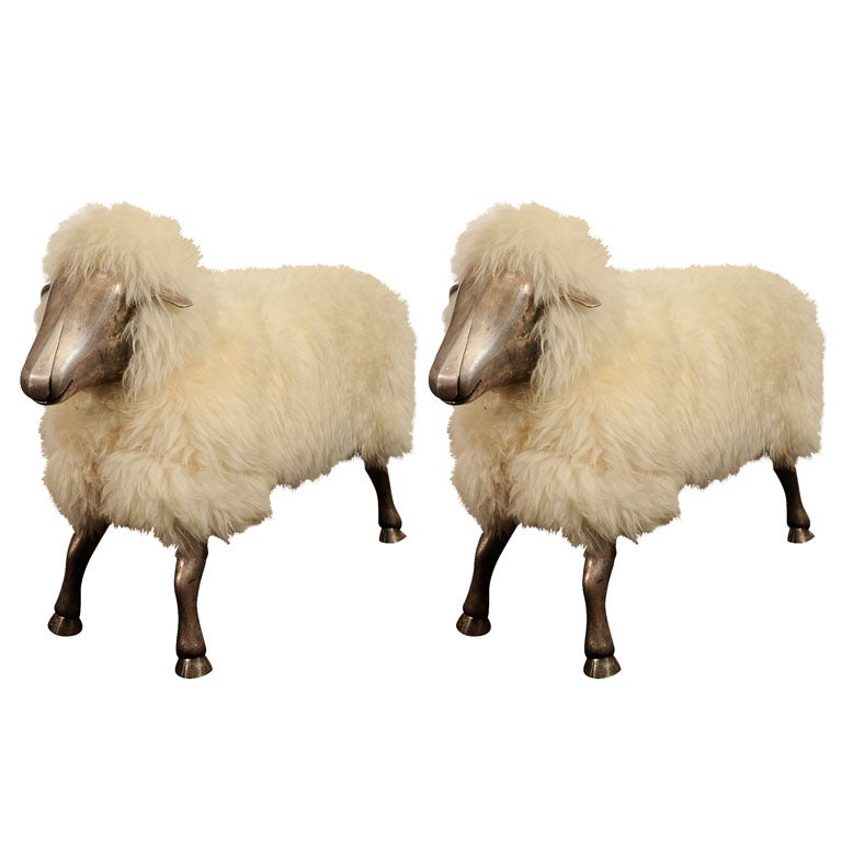 Pair of Lalanne Style Silvered Bronze Sculptural Sheep Benches For Sale